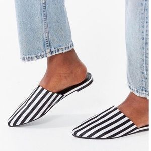 Urban outfitters striped black and white mules